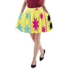 Easter Egg Shapes Large Wave Green Pink Blue Yellow Black Floral Star A-line Pocket Skirt by Alisyart