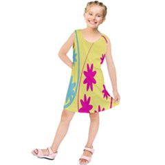 Easter Egg Shapes Large Wave Green Pink Blue Yellow Black Floral Star Kids  Tunic Dress by Alisyart