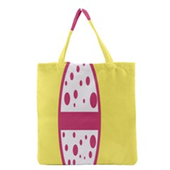 Easter Egg Shapes Large Wave Pink Yellow Circle Dalmation Grocery Tote Bag by Alisyart