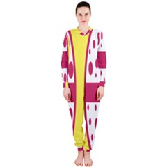 Easter Egg Shapes Large Wave Pink Yellow Circle Dalmation Onepiece Jumpsuit (ladies)