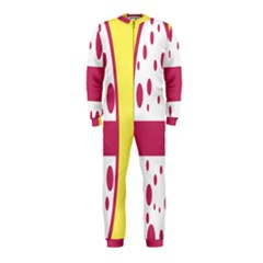Easter Egg Shapes Large Wave Pink Yellow Circle Dalmation Onepiece Jumpsuit (kids)