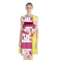 Easter Egg Shapes Large Wave Pink Yellow Circle Dalmation Sleeveless Chiffon Waist Tie Dress by Alisyart