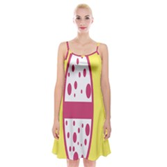Easter Egg Shapes Large Wave Pink Yellow Circle Dalmation Spaghetti Strap Velvet Dress