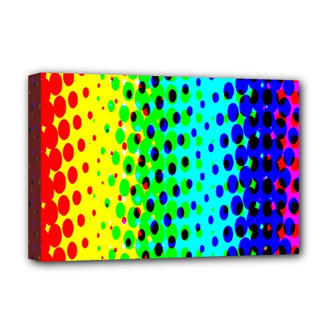 Comic Strip Dots Circle Rainbow Deluxe Canvas 18  X 12   by Alisyart