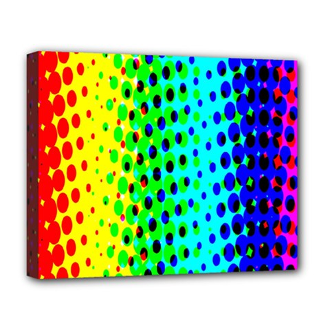 Comic Strip Dots Circle Rainbow Deluxe Canvas 20  X 16   by Alisyart