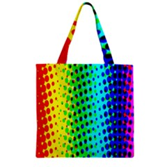 Comic Strip Dots Circle Rainbow Zipper Grocery Tote Bag by Alisyart