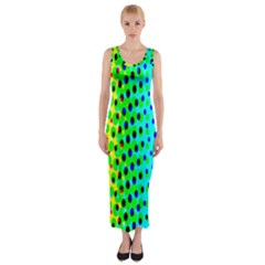 Comic Strip Dots Circle Rainbow Fitted Maxi Dress by Alisyart