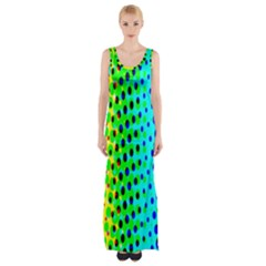 Comic Strip Dots Circle Rainbow Maxi Thigh Split Dress by Alisyart