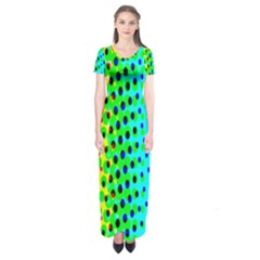 Comic Strip Dots Circle Rainbow Short Sleeve Maxi Dress by Alisyart