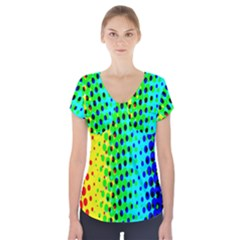 Comic Strip Dots Circle Rainbow Short Sleeve Front Detail Top by Alisyart