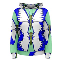 Draw Butterfly Green Blue White Fly Animals Women s Pullover Hoodie
