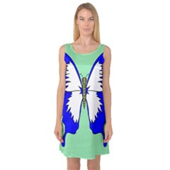 Draw Butterfly Green Blue White Fly Animals Sleeveless Satin Nightdress by Alisyart