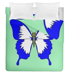 Draw Butterfly Green Blue White Fly Animals Duvet Cover Double Side (queen Size) by Alisyart