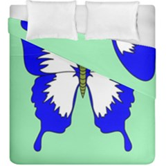 Draw Butterfly Green Blue White Fly Animals Duvet Cover Double Side (king Size) by Alisyart