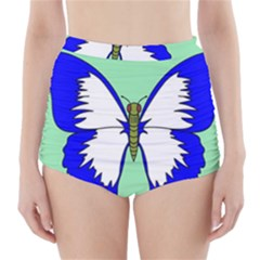 Draw Butterfly Green Blue White Fly Animals High Waisted Bikini Bottoms by Alisyart