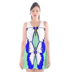 Draw Butterfly Green Blue White Fly Animals Scoop Neck Skater Dress