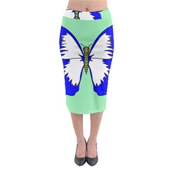 Draw Butterfly Green Blue White Fly Animals Midi Pencil Skirt by Alisyart