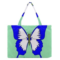 Draw Butterfly Green Blue White Fly Animals Medium Zipper Tote Bag by Alisyart
