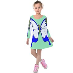Draw Butterfly Green Blue White Fly Animals Kids  Long Sleeve Velvet Dress by Alisyart