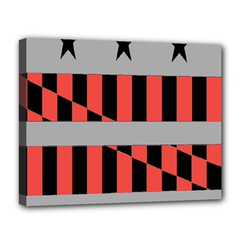 Falg Sign Star Line Black Red Canvas 14  X 11