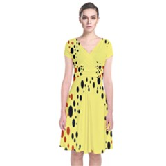 Gradients Dalmations Black Orange Yellow Short Sleeve Front Wrap Dress
