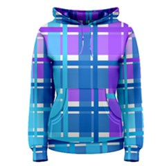 Gingham Pattern Blue Purple Shades Sheath Women s Pullover Hoodie