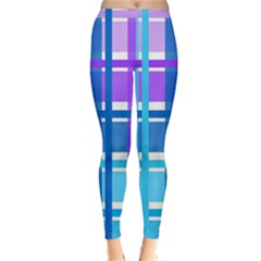 Gingham Pattern Blue Purple Shades Sheath Classic Winter Leggings