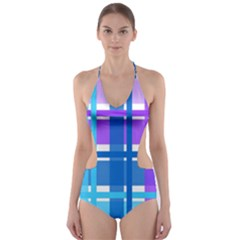 Gingham Pattern Blue Purple Shades Sheath Cut Out One Piece Swimsuit