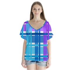 Gingham Pattern Blue Purple Shades Sheath Flutter Sleeve Top