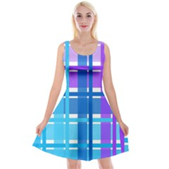 Gingham Pattern Blue Purple Shades Sheath Reversible Velvet Sleeveless Dress