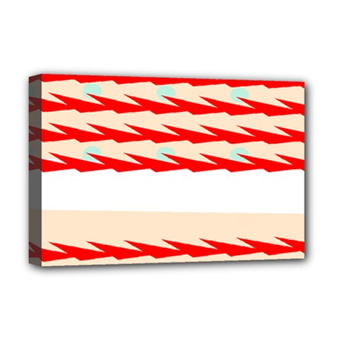 Chevron Wave Triangle Red White Circle Blue Deluxe Canvas 18  X 12   by Alisyart
