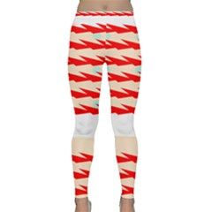 Chevron Wave Triangle Red White Circle Blue Classic Yoga Leggings by Alisyart