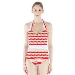 Chevron Wave Triangle Red White Circle Blue Halter Swimsuit by Alisyart
