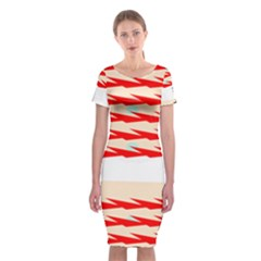 Chevron Wave Triangle Red White Circle Blue Classic Short Sleeve Midi Dress