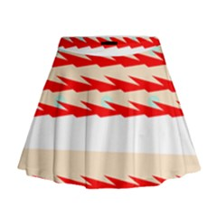 Chevron Wave Triangle Red White Circle Blue Mini Flare Skirt