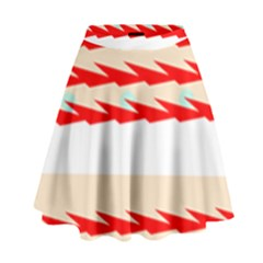 Chevron Wave Triangle Red White Circle Blue High Waist Skirt