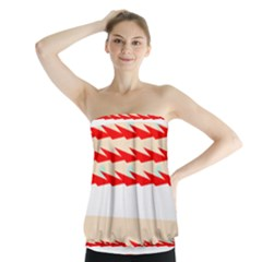 Chevron Wave Triangle Red White Circle Blue Strapless Top