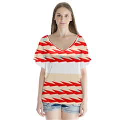 Chevron Wave Triangle Red White Circle Blue Flutter Sleeve Top