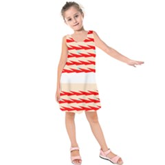 Chevron Wave Triangle Red White Circle Blue Kids  Sleeveless Dress