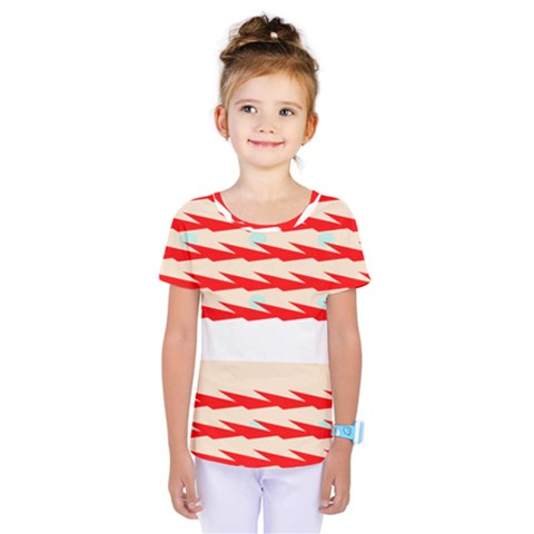 Chevron Wave Triangle Red White Circle Blue Kids  One Piece Tee by Alisyart