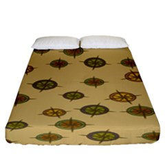 Compass Circle Brown Fitted Sheet (king Size) by Alisyart