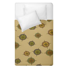 Compass Circle Brown Duvet Cover Double Side (single Size) by Alisyart