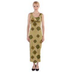 Compass Circle Brown Fitted Maxi Dress