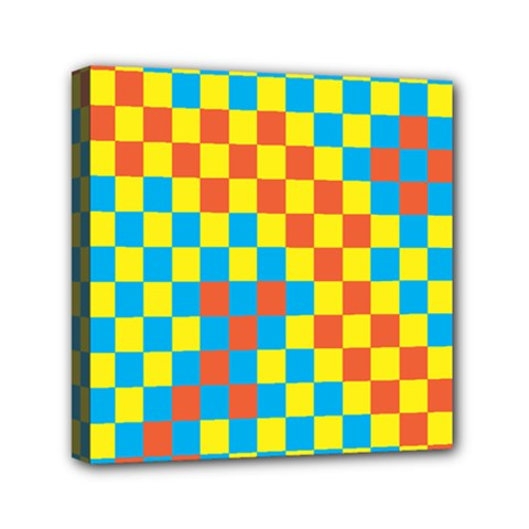 Optical Illusions Plaid Line Yellow Blue Red Flag Mini Canvas 6  X 6
