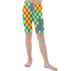 Optical Illusions Plaid Line Yellow Blue Red Flag Kids  Mid Length Swim Shorts by Alisyart
