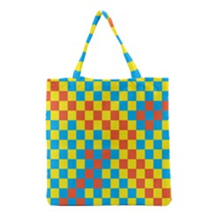 Optical Illusions Plaid Line Yellow Blue Red Flag Grocery Tote Bag by Alisyart