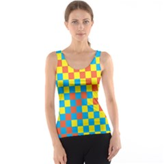 Optical Illusions Plaid Line Yellow Blue Red Flag Tank Top by Alisyart