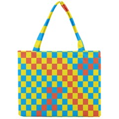 Optical Illusions Plaid Line Yellow Blue Red Flag Mini Tote Bag by Alisyart