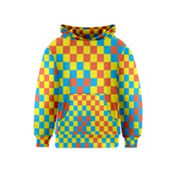 Optical Illusions Plaid Line Yellow Blue Red Flag Kids  Pullover Hoodie by Alisyart