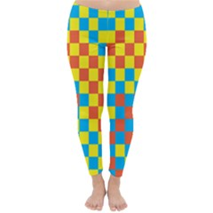Optical Illusions Plaid Line Yellow Blue Red Flag Classic Winter Leggings